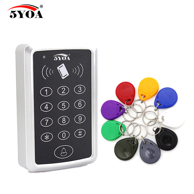 5YOA RFID Access Control System Device Machine Card Keytab Proximity Door Lock Tag EM ID Keypad Key Fobs Controller full waterproof em id 125 khz wiegand 26 rfid proximity door access control card keypad machine controller reader lock