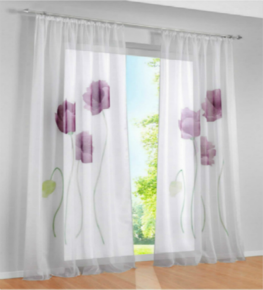 Curtain For Balcony: One Piece Three Color Floral Beautiful Window Screening