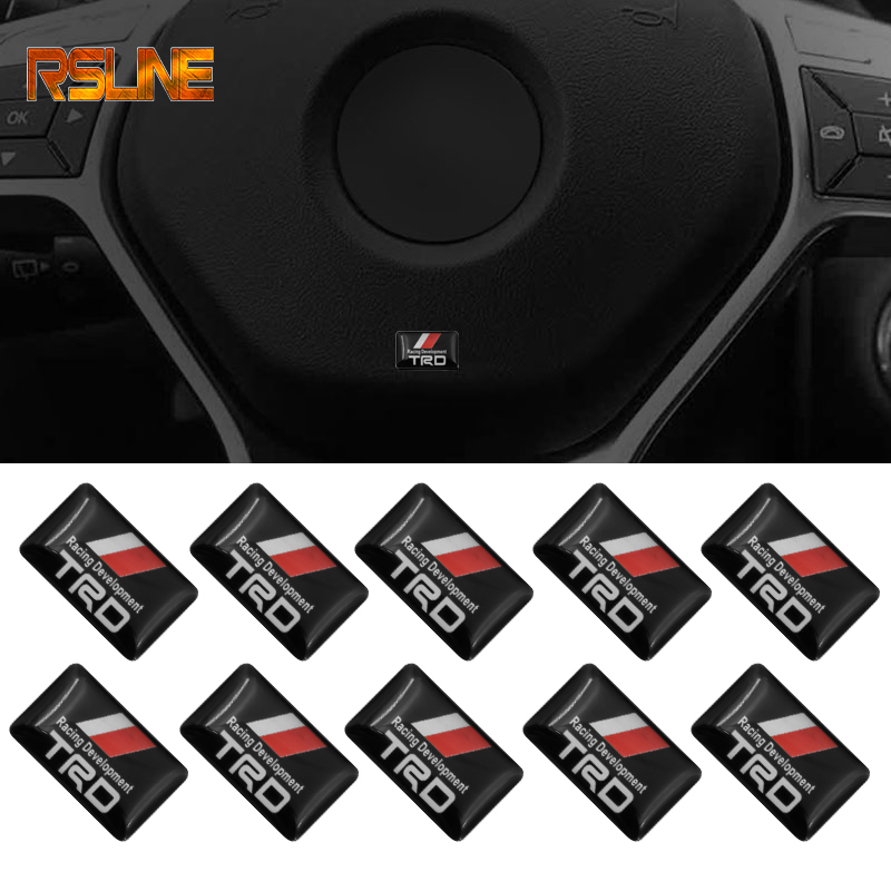 10PCS Auto Car Styling 3D Racing Development TRD Decoration Sticker Emblem Decal For Toyota Car Exterior Body Decoration