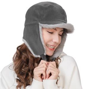 Image 3 - FANCET החורף חם פו פרווה מפציץ כובעי לנשים מוצק אקריליק רוסיה כובעי זכר אוזן דש הגנה מתכוונן Ushanka 99723