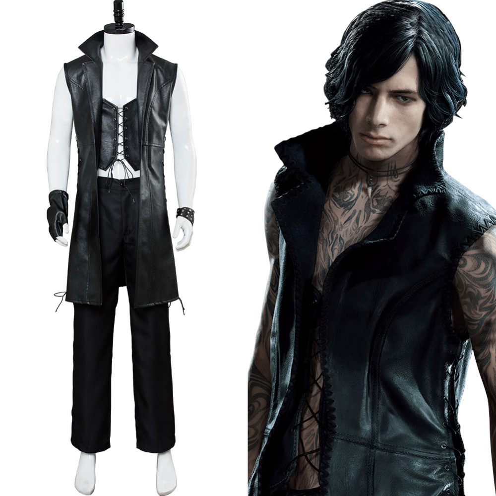 DMC Devil May Cry V Dante Cosplay Costume Outfit Male Dante Jacket Cosplay Halloween Carnival Costume