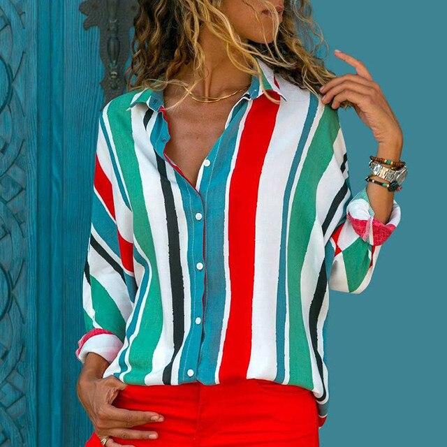 Ladies Long Sleeve Chiffon Striped Shirt 5