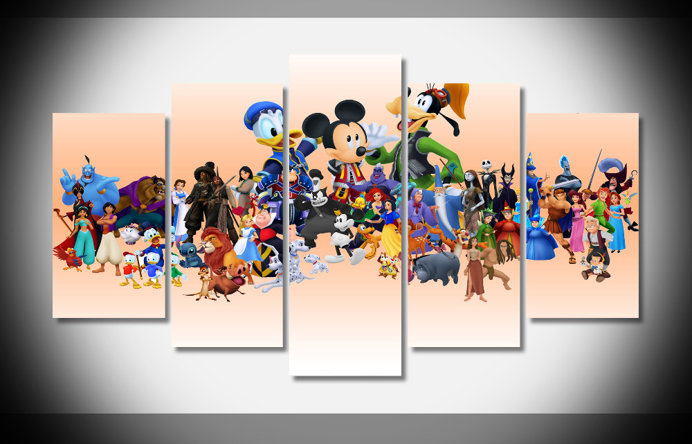 2522 Disney Characters Cartoon Poster Print Gallery Wrap Canvas Deco Framed  Art Gallery Wrap Home Wall Decor Handmade Print In Wall Stickers From Home  ...