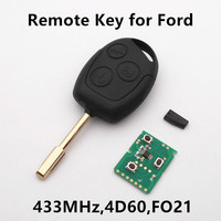 New Remote Key 3 Buttons 433MHz With 4D60 Chip For FORD Focus Fiesta Mondeo C MAX