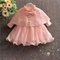 Otoño nuevo bebé vestido con el mantón de encaje de color rosa arco niña vestido de bautizo vestidos de cumpleaños 1 años ropa de los bebés de 0-18 M