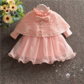 autumn new baby dress with shawl pink lace bow baby girl christening gowns 1 year birthday dress baby girls clothes for 0-18M