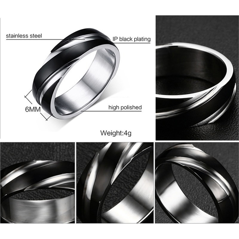 Romad Fashion Daily Wear Rings Top Quality Lead Nickel Free Black Color Stainless Steel Men Party Rings for Men in Rings from Jewelry Accessories