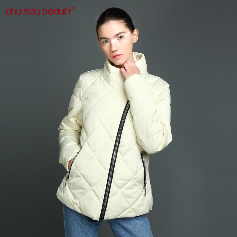 CHUSAUBEAUTY Womens Winter Jackets And Coats Warm Ladies Jacket Autumn Rhombus Casual Uniform Female Thickening Cotton-padded