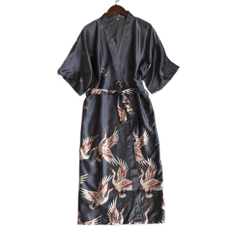 16ec65d4fd Summer beauty crane sexy robes women fashion satin silk wedding robes  bridesmaid sleepshirts women kimono bathrobe