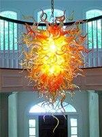 חמה למכירה פנסי כתום מנורת LED תאורת נברשת זכוכית מנופחת בעבודת יד צ 'יהולי נברשות שרשרת