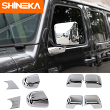 Car Mirror Covers for Jeep Wrangler JL Accessorie 2018 Rearview Base Shell Cover Chrome Sticker