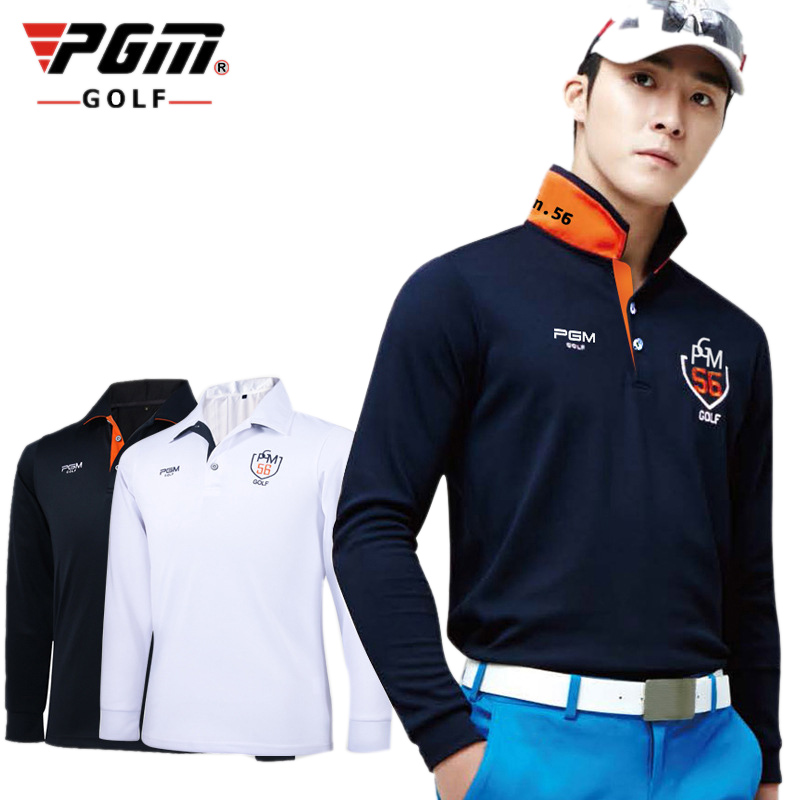 PGM Outdoor Sports Fit Polomens Golf Shirts Quick Dry Long Sleeve Golf T-shirts Clothing Table Tennis Breathable Polo Shirts
