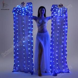 Image 3 - Nuova Danza Del Ventre di Seta Fan Velo LED Ventole Light up Shiny Pieghe Carnevale LED Ventole Oggetti di Scena Accessori di Prestazione Della Fase Costume