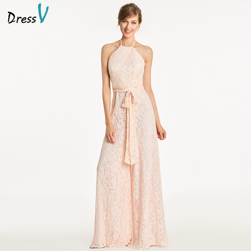 Dressv pink halter sheath bridesmaid dress zipper-up sleeveles column wedding party women floor length bridesmaid dress