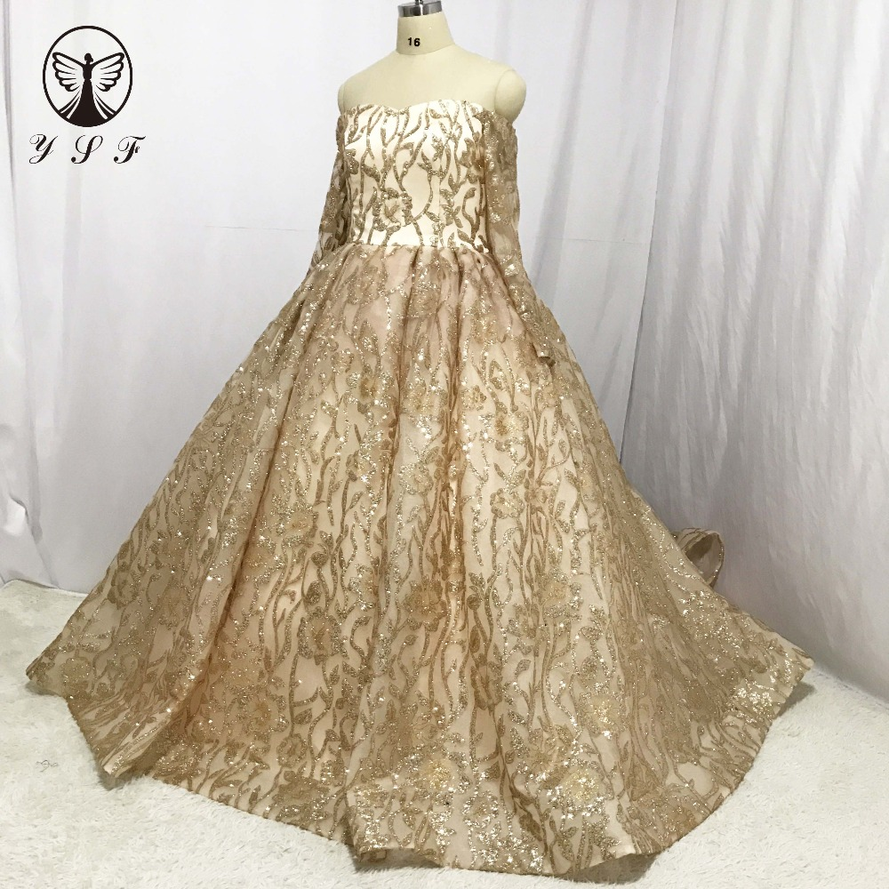 Ysf Bridal Gown Off The Shoulder Sweetheart Lace Bling Long Sleeve Puffy Golden Wedding Dresses 2018 In From Weddings Events On