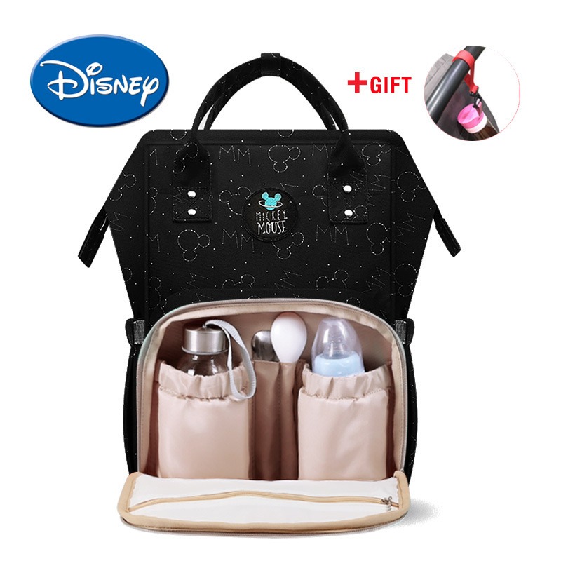 Disney USB Heat Preservation Diaper Bag Water proof Toddler Mommy Diaper Backpack Cartoon Micky Travel Bag-in Diaper Bags from Mother & Kids    1