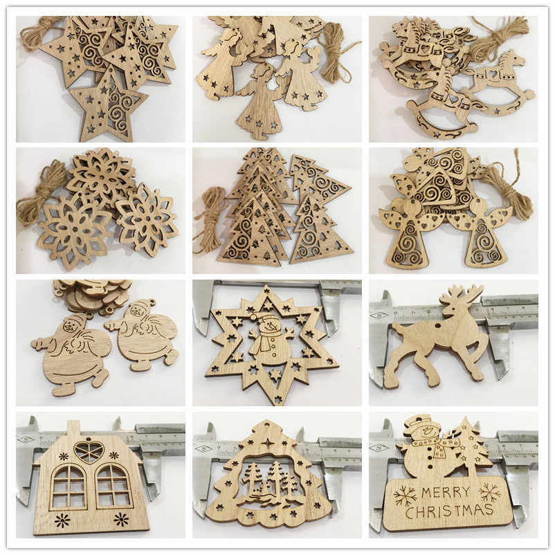 12 Style Christmas Tree Santa Snowman Wooden Hanging Ornaments for Scrapbooking DIY Craft Christmas Wedding Party Home Decor