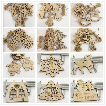 Adorno colgante de madera con forma de muñeco de nieve y árbol de Navidad de 12 estilos, adornos para álbum de recortes DIY, manualidades para Navidad, bodas, fiestas, decoración del hogar