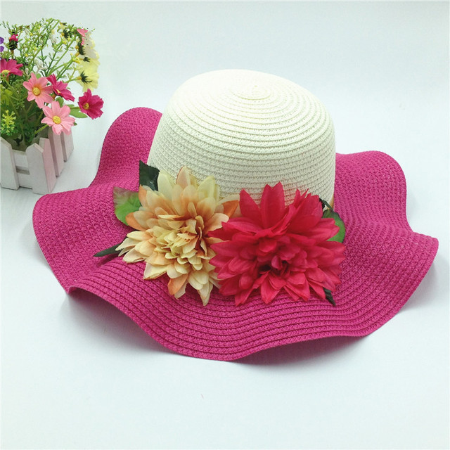 Primavera Verano dos flores Sol CAP para las mujeres Anti uv Sol pantalla  ala ancha Sol bb39825a961