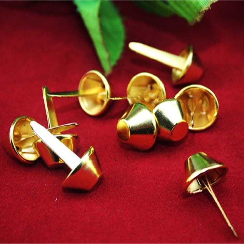 Gold Color Metal Brads Scrapbooking Craft Embellishment Card Making Decorative DIY Rivets Fastener Brads Pin Nail,15*26mm,50PCs