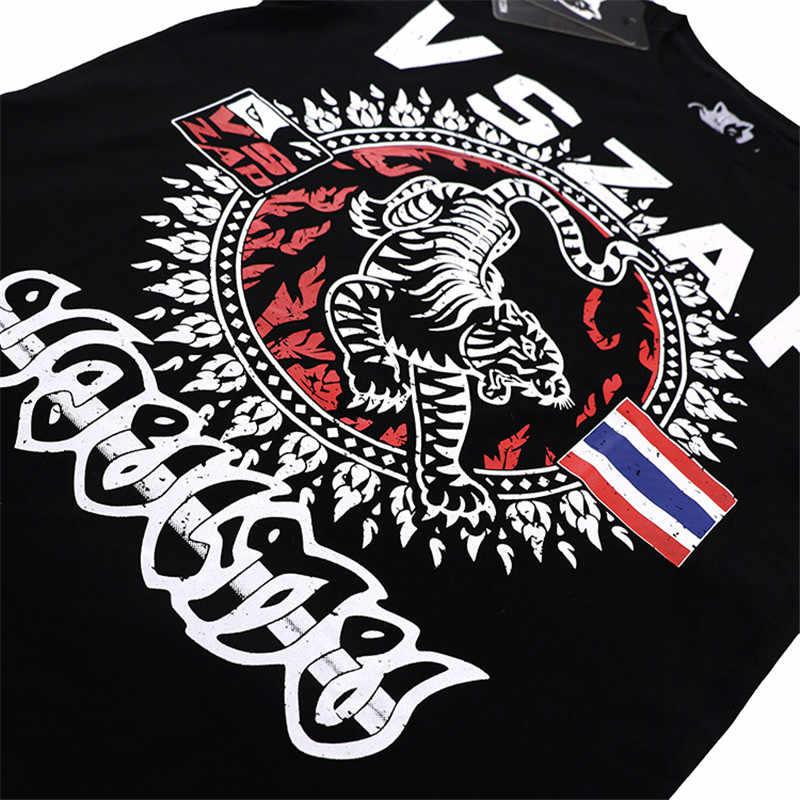 Vszap Muay Thai Harimau Tshirt Cetak Lengan Pendek Kebugaran T-shirt Pria Bernapas Elastis Berkualitas Tinggi Olahraga MMA Tide Kostum