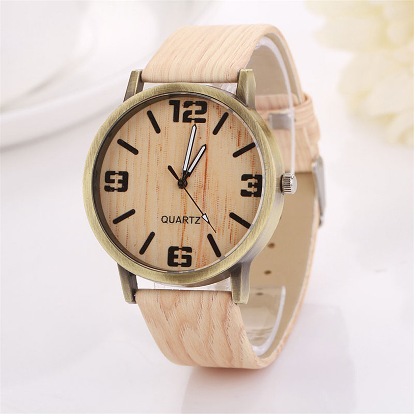 Casual relojes mujer leather Wooden grain Analog quartz watch Fashion hour clock female wood women montre femme ladies watches 2016 fashion casual men women unisex neutral clock roman wood leather band analog hour quartz wrist watches relogios fabulous