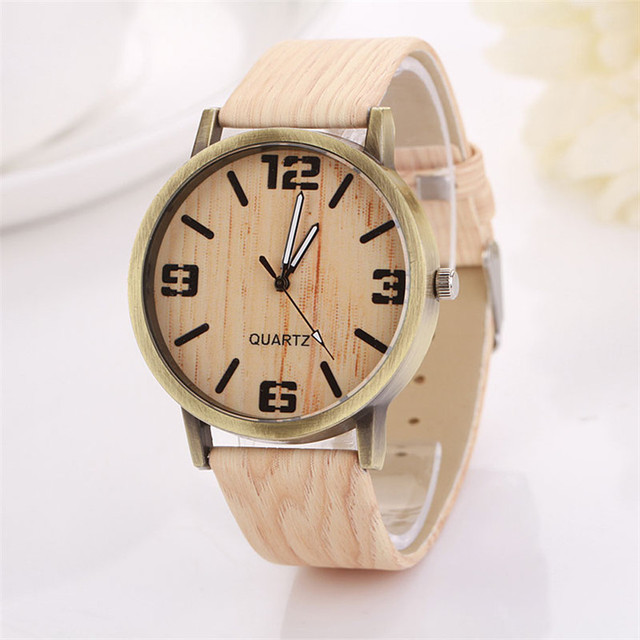 Casual relojes mujer leather Wooden grain Analog quartz watch Fashion hour clock