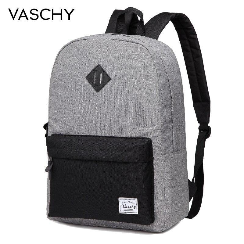 VASCHY Men Backpack Gray Casual Rucksacks 15inch Laptop Backpacks College Student School Backpack Women Mochila bookbag