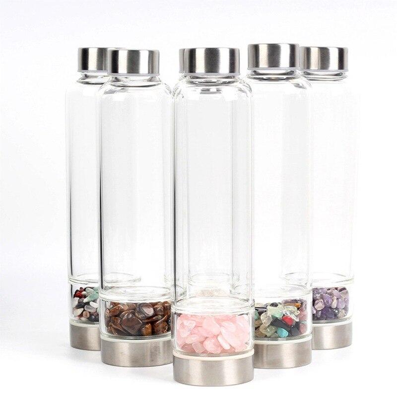 HOT SALE Natural Quartz Crystal Glass Water Bottle Gema Point Crystal Wand Healing Reiki Healing Glass Bottle New
