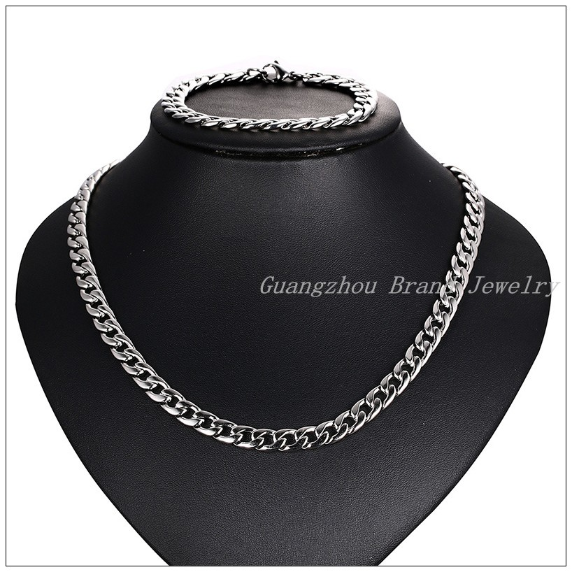 New Fashion 316L Stainless Steel Silver Curb Chain Cool Womens Mens Figaro Chain 8.5