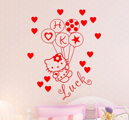 Hello Kitty Cat Custom Name Vinyl Art Decal Wall Paper For Home Decoration Wall  Mural For