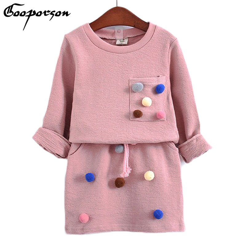 girls winter clothing set long sleeve shirt with ball with pencil skirt pink and blue color fashion clothes set kids children