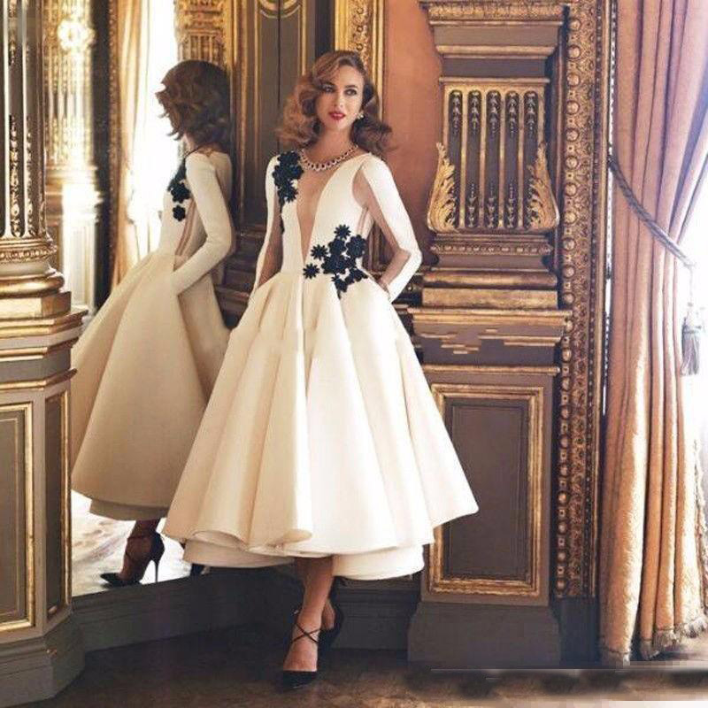 Elegant Ivory Tea Length   Cocktail     Dresses   With Pockets Black Flower Long Sleeve Jewel Neck Party Wear Gowns 2019