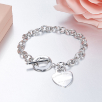 Hot Heart Sterling Silver chain Bracelets 100% 925 Silver Heart Tag Buckle Tiff New Bracelet To Women Fashion Jewerly gifts Logo