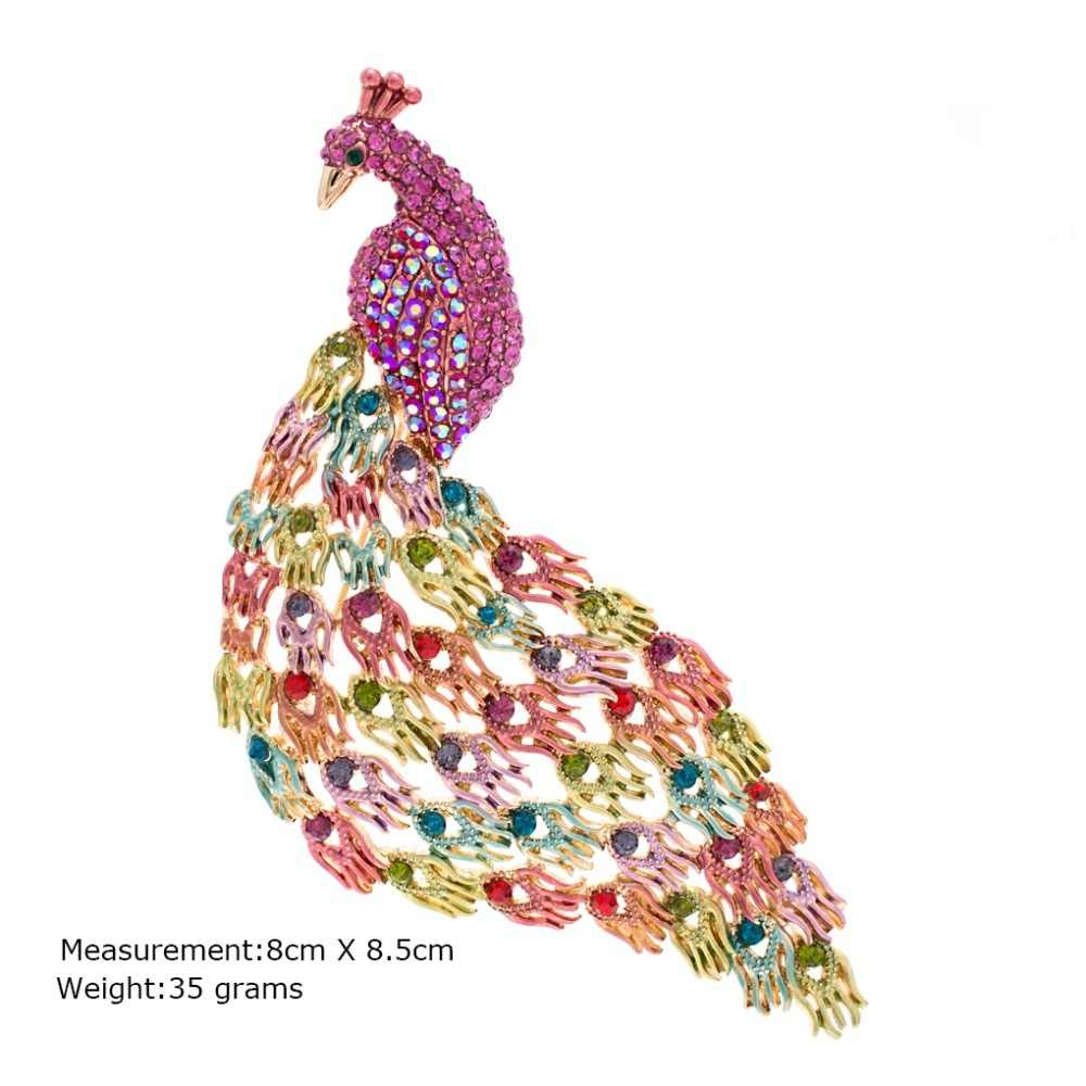 Mode Berlian Imitasi Kristal Warna Peacock Bros Pin Bros Untuk Wanita Perhiasan Gratis pengiriman BT4700
