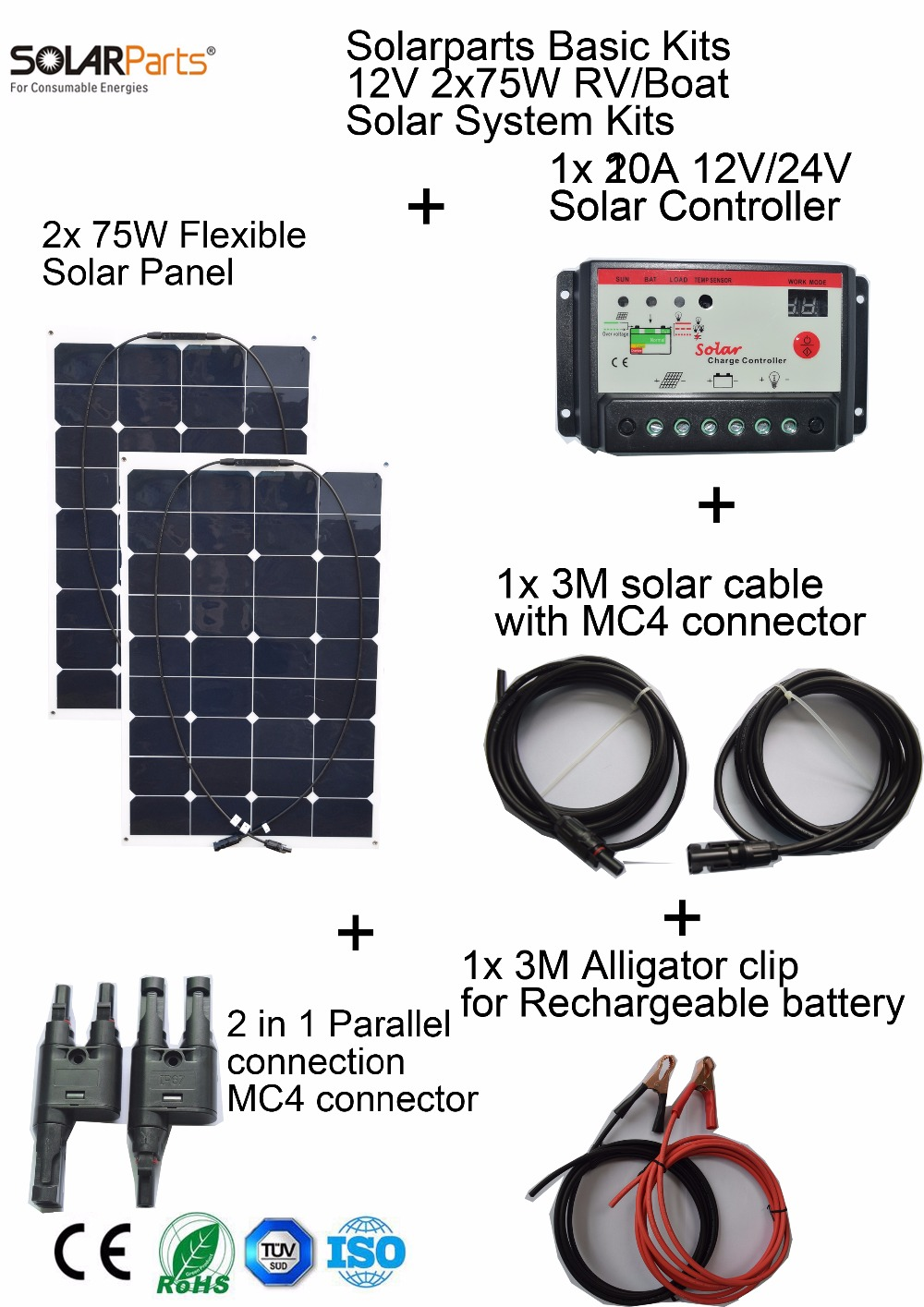 Boguang Basic Kits 12V 2x75W 150w DIY RV/Marine Solar System Kits flexible solar panel+controller+cable outdoor light led kit boguang 500w semi flexible solar panel solar system efficient cell diy kit module 50a mppt controller adapter mc4 connector