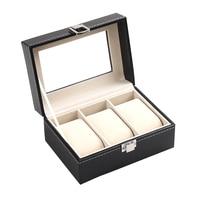 One Layer 3 Grid Wrist Watch Display Case Black Box Jewelry Storage Organizer With Cover