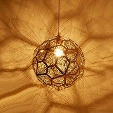 Modern Copper Gold Silver Etch Web Pendant Light Tom Dixon Pendant Lamp for Living Room Stainless Steel Diamond Polygon hanglamp