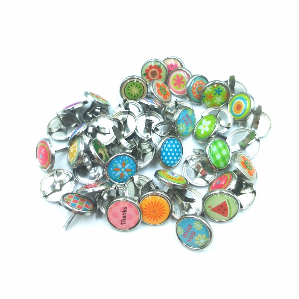 200 PCS Mini Small Paper Fasteners Durable Round Metal Brads for DIY Crafts Scrapbooking Making 10MM Random Color