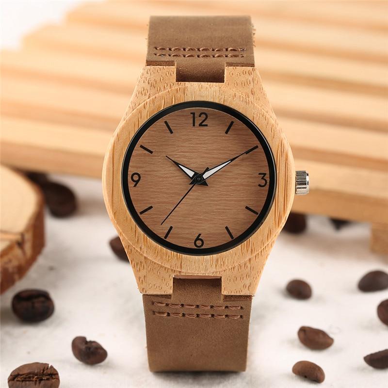 Einfache Frauen Bambus Uhr Lederarmband Minimalistischen Vintage