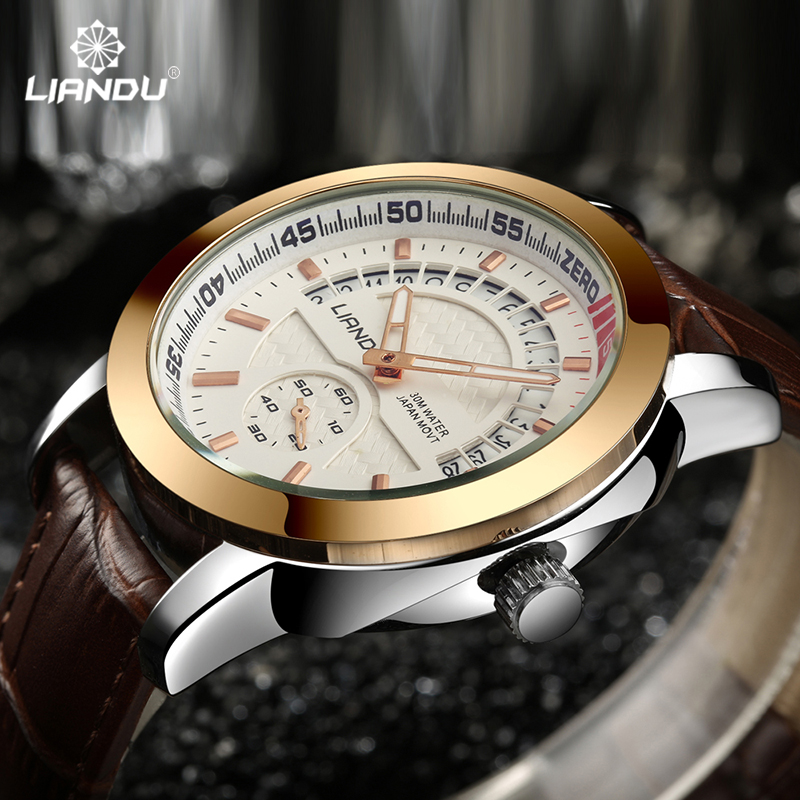 LIANDU Sports Quartz Watch Mens Watches Top Brand Luxury Leather Wristwatches Relogio Masculino Calendar New Design Men Watches от Aliexpress INT