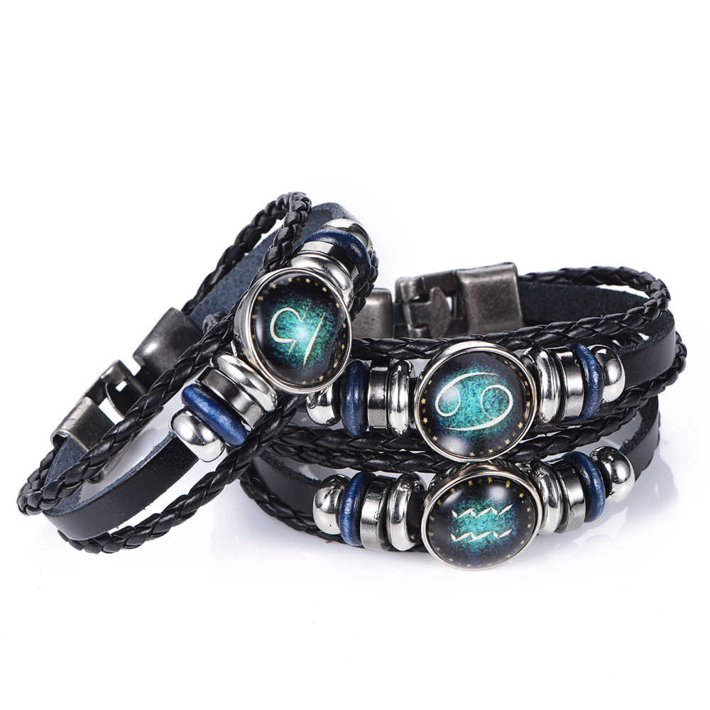 Luminous 12 Constellations Leather Zodiac charm Bracelet Jewellery Male Women Braid Rope punk Bracelet Jewelry DropShiping