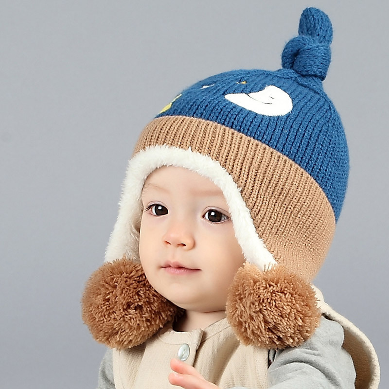 Cute Kids Baby Hats Winter Knitted Hat Pom Poms Warm Bomber Hat Plus Velvet Baby  Cap Casquette e62a96101460