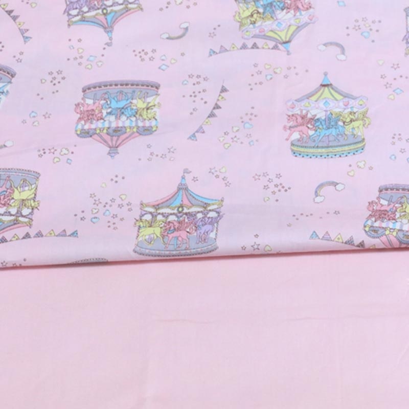 100% cotton twill cloth cartoon Carousel pink solid fabric for DIY kids bedding crib cushions sheet quilting patchwork handwork