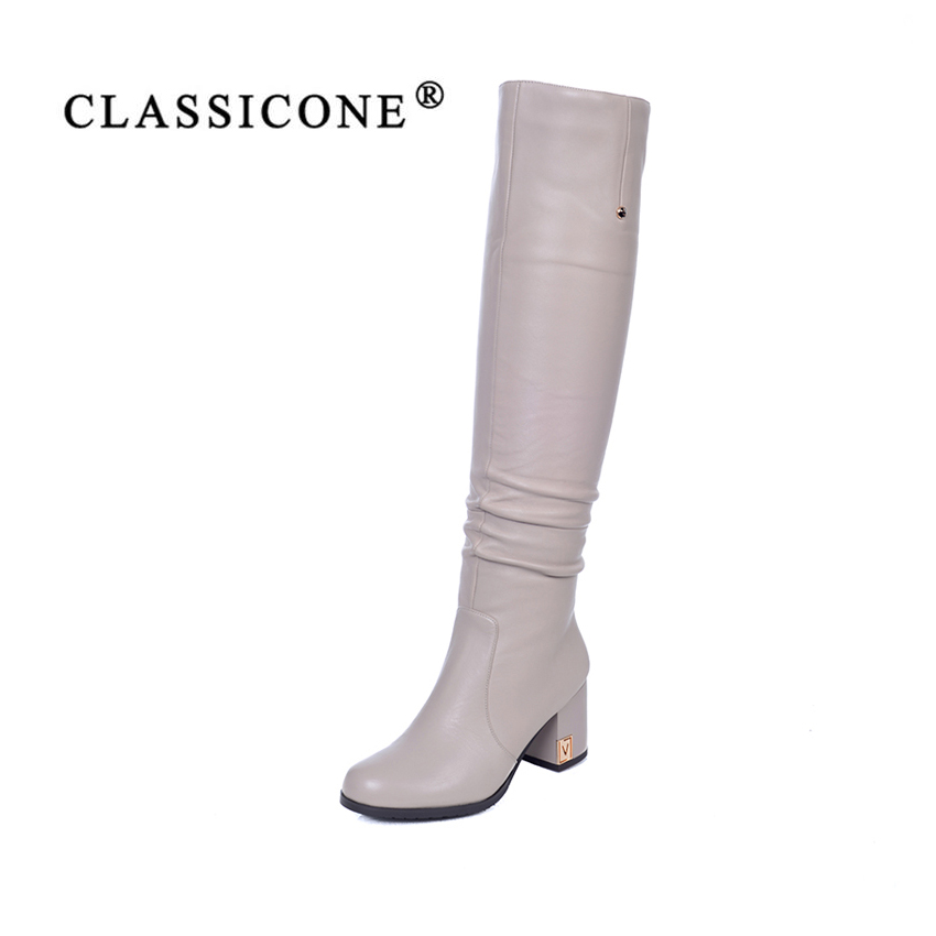 women shoes spring autumn woman Knee-High long boots high heel pumps genuine leather fashion brand style luxury sexy CLASSICONE