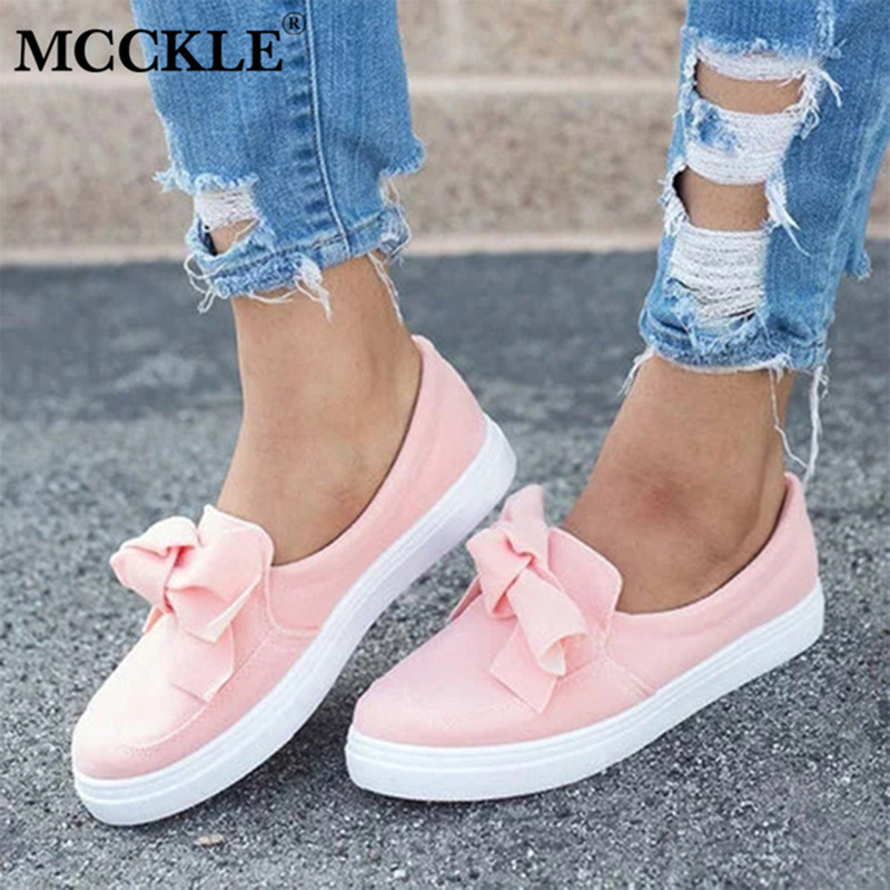MCCKLE Plus Size Women Casual Flat Sneakers Female Flock Bowknot Slip On Shallow Vulcanized Shoes Ladies Flats Footwear mcckle summer casual flats women sneakers plus size cut outs slip on elastic band ladies loafers flock footwear female shoes