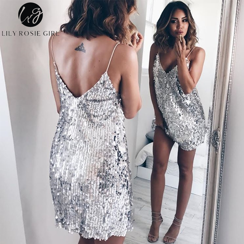 Cuello V profunda de plata lentejuelas sin respaldo Sexy vestido de las mujeres hombro Mini Vestido corto de Fiesta Club Correa Vestidos