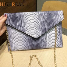 HIGHREAL Brand Evening Bag Snake Skin Envelope Bag Day Clutches Purse Handbags Bags With Chain Strap Drop shipping