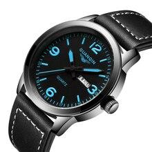 2016 AR Cuarzo Relojes de Los Hombres GUANQIN Hombres de la Marca Casual Reloj de Papel Real de Cuero Celeste Reloj Serie Nomo Whatch Relogio Masculino