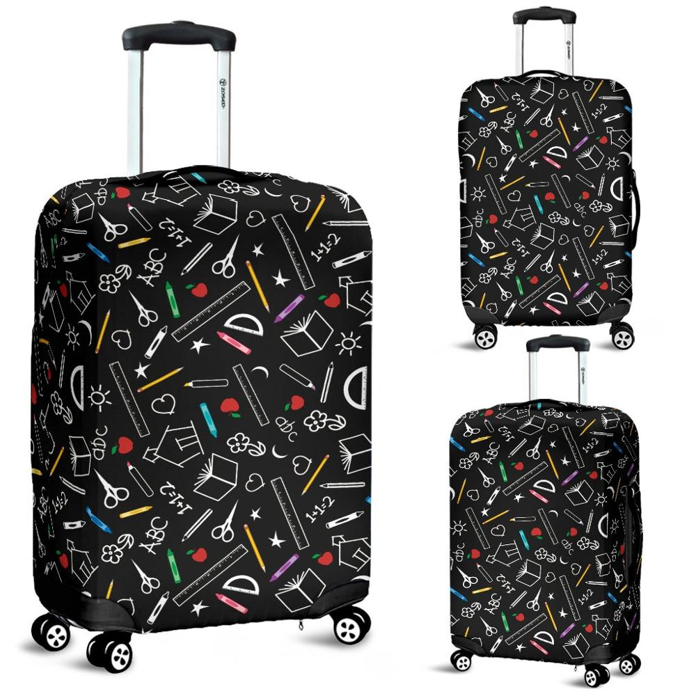 Nopersonality Black Teacher Pattern Travel Luggage Protector Cover Waterproof 18-32inch Suitcase Cover Elastic Baggage Covers